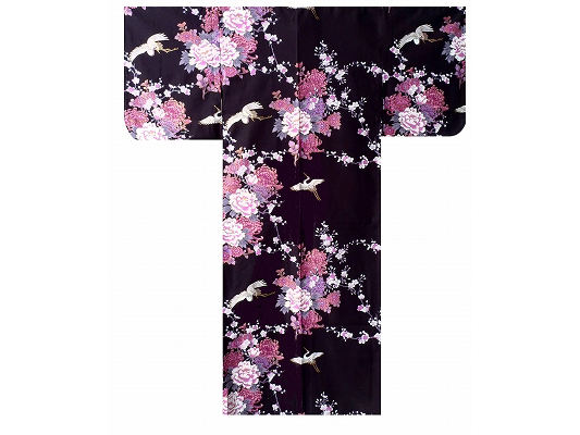 Gruesamp; Envol Kimono Noir Femme De Satin Pivoines oeBdWrCx