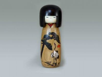 Kokeshi Meotozuru (couple de grues)