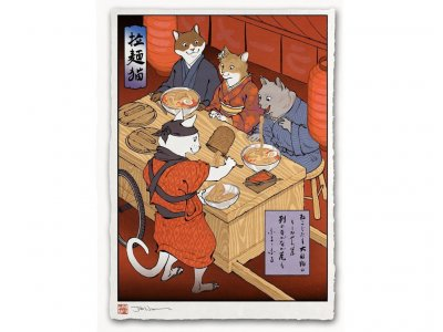 "Estampe ukiyo-e ""Ramen cats"""