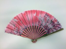 Eventail washi rose papillons